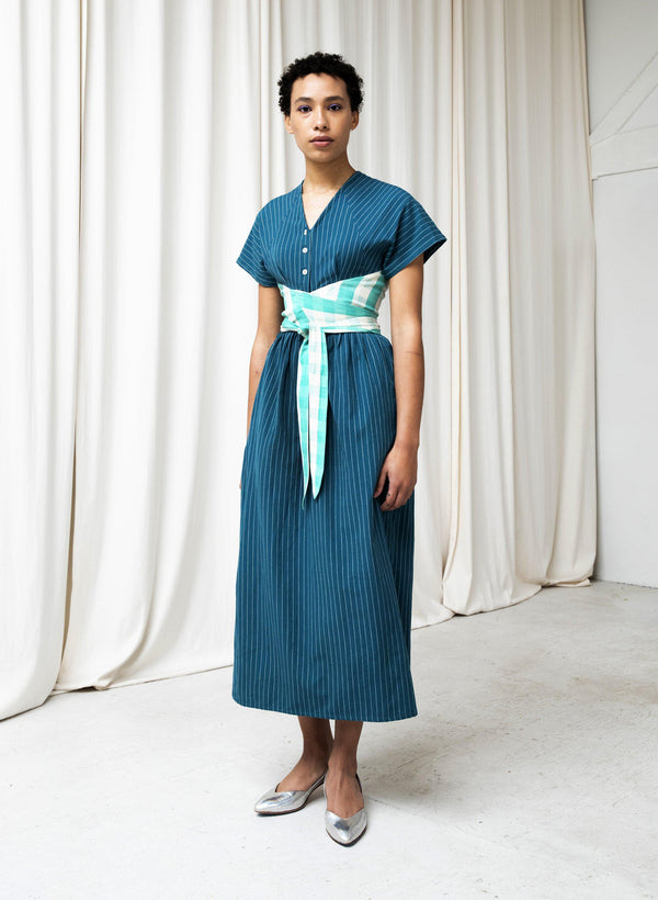 Roma Dress, evergreen pinstripe + mint gingham