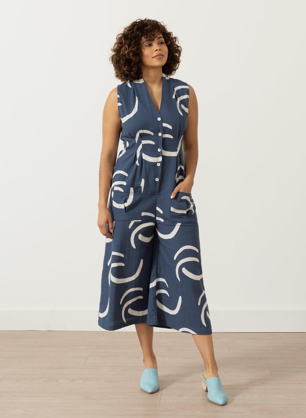 Simone Romper, navy waves print