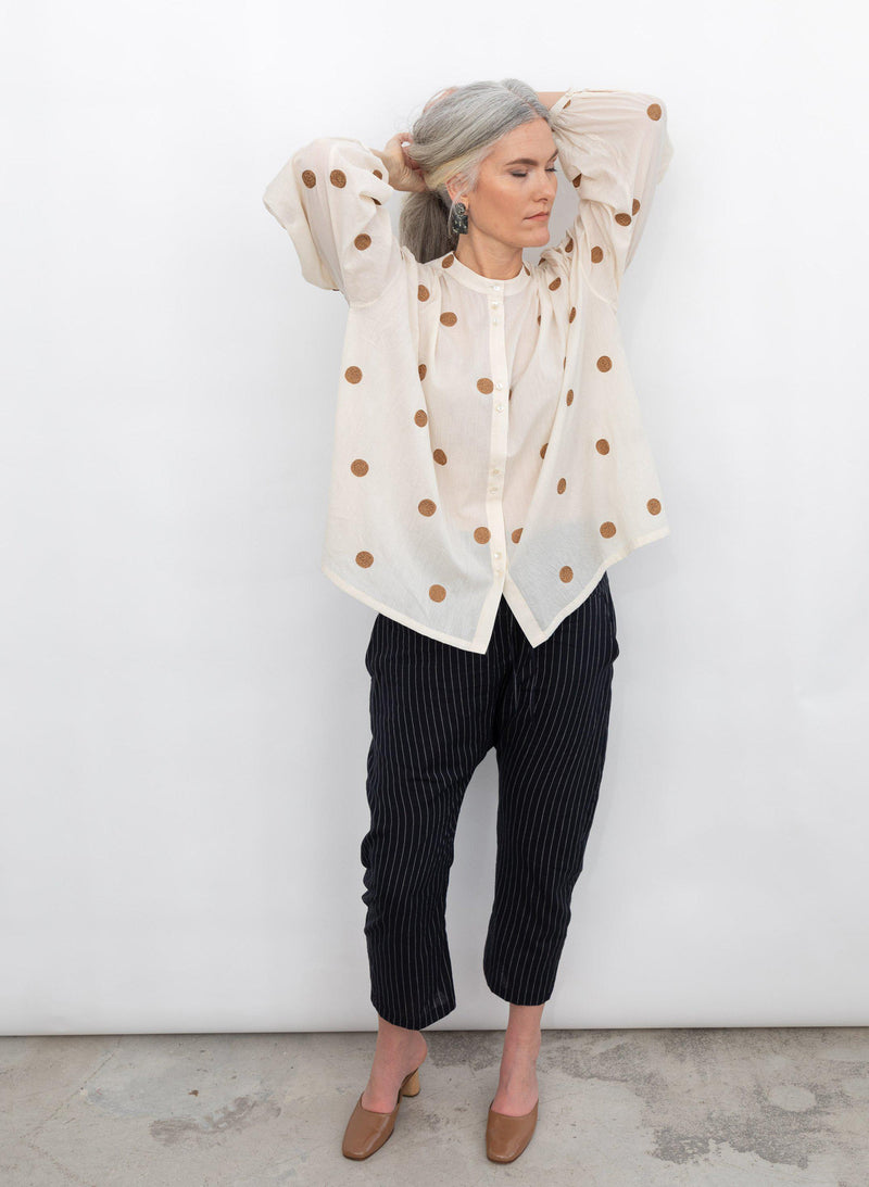 Artist Shirt, camel polka dot embroidery