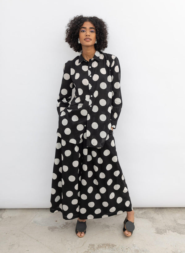Devon Shirt, black polka dot