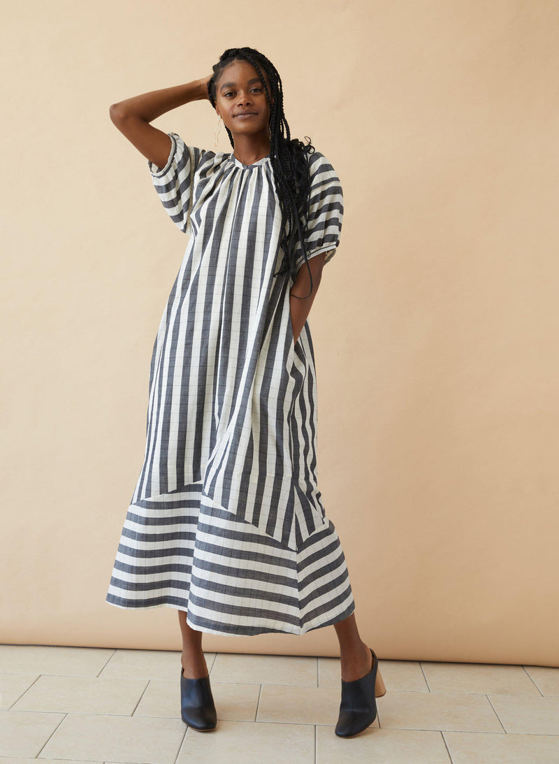 Goa Dress, black + white stripe