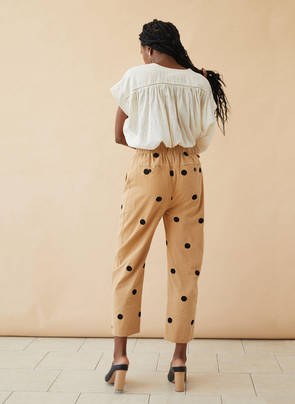 Haus Pants, embroidered camel twill