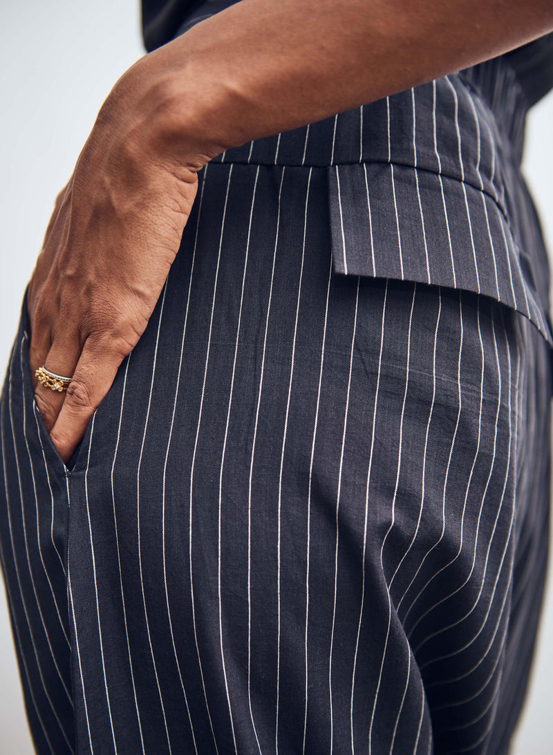Jaipur Pants 2.0, black + white pinstripe