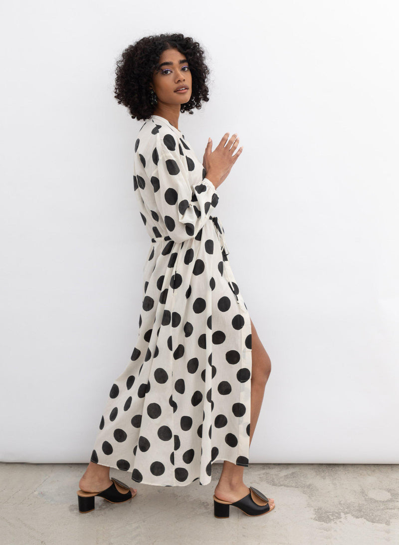 Julia Dress, white polka dot