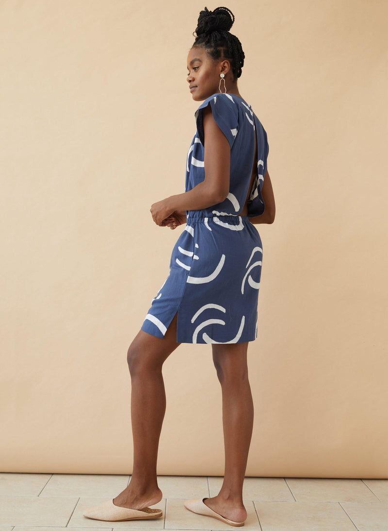 Nena Dress, navy waves print
