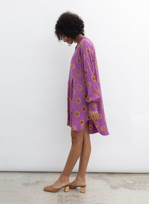 Sonia Dress, orchid polka dot