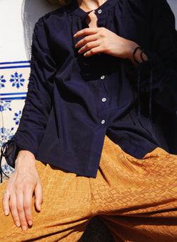 Etta Shirt, navy cotton woven