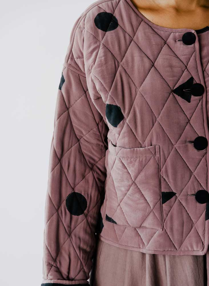 Gloria Coat, mauve shapes print