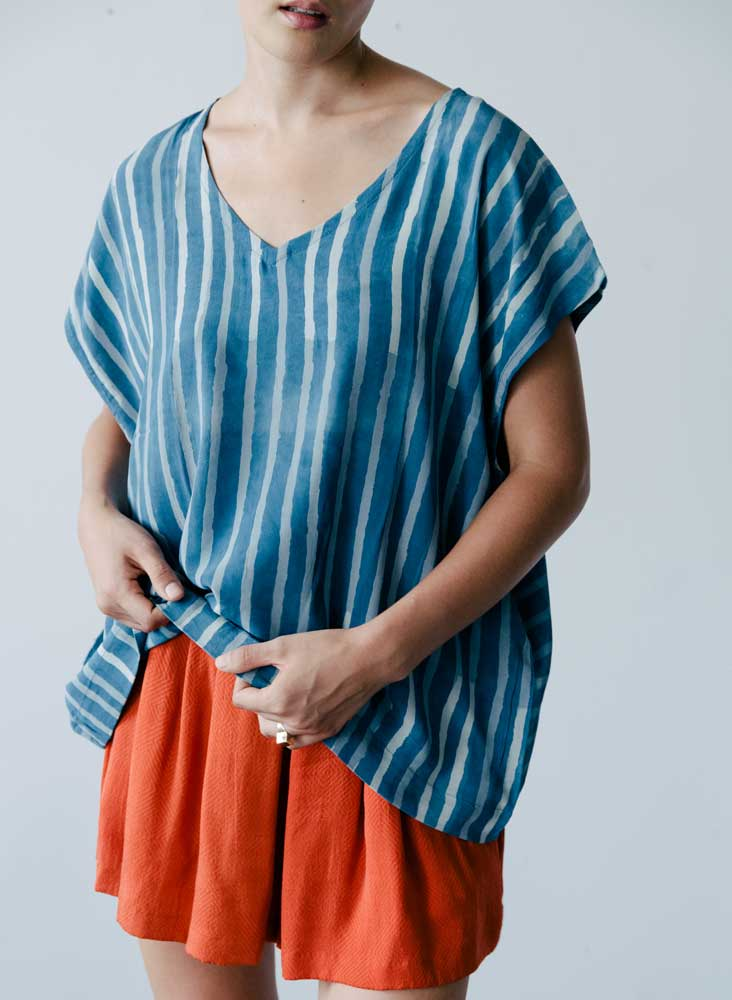 Insia Top, stripe print silk