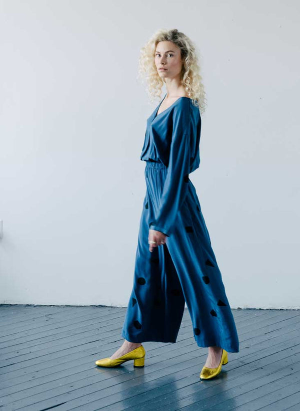 Jinky Jumpsuit, indigo blue shapes print