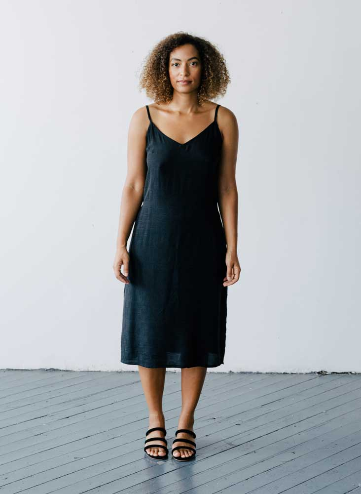 Kothi Slip Dress, coal black jacquard