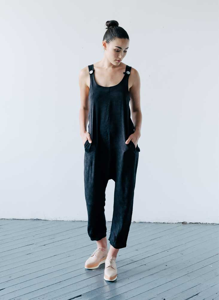 Tilden Jumpsuit, coal black silk jacquard