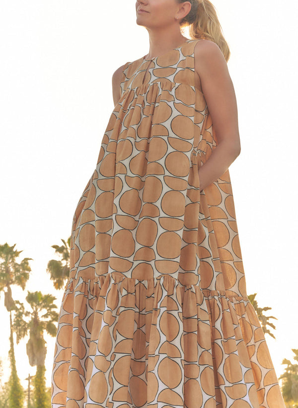 Stevie Dress, camel landforms print