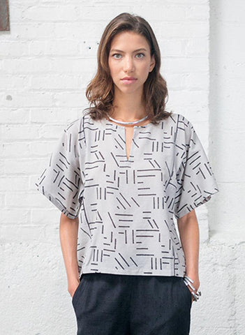 Yuko top, silver fragments print