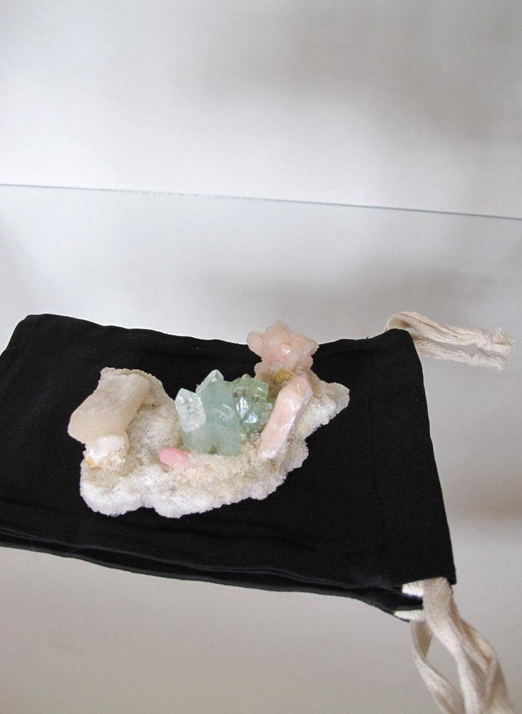 Market Finds: green apophyllite with pink stilbite crystal