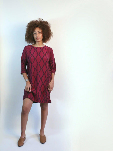 Sara Dress 3/4 sleeve, magenta print mix