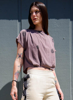 Maggie Top, mauve shapes print