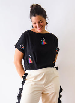 Maggie Top, rainbow embroidery