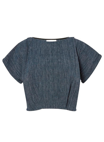 Maggie top, indigo twist weave