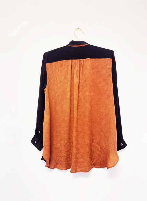 Archive Sale | Devon Shirt, black + rust silk jacquard
