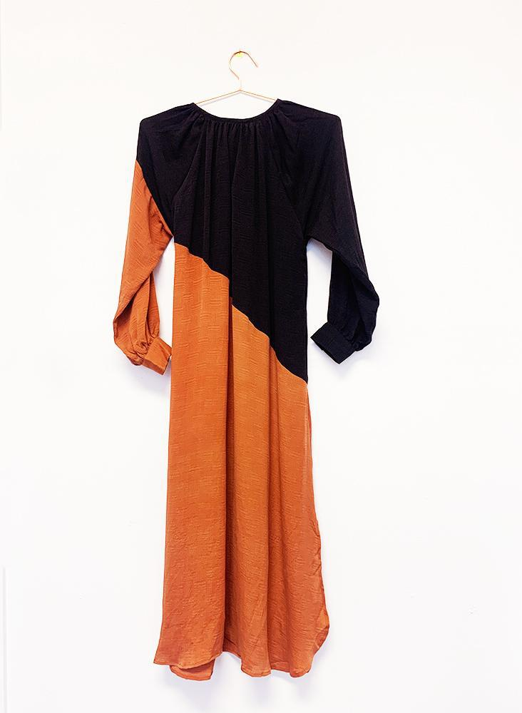 Archive Sale | Caz Dress, black + rust silk jacquard