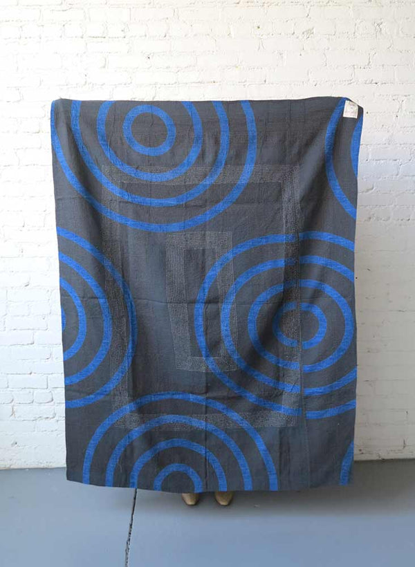 Gudri Quilt Throw, lapis echo, light mint + navy