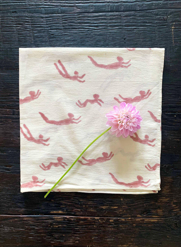 Napkin Set, terracotta swimmers print