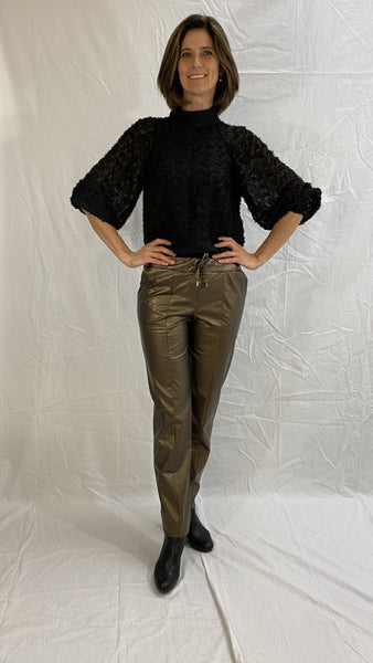 golden trousers leather look