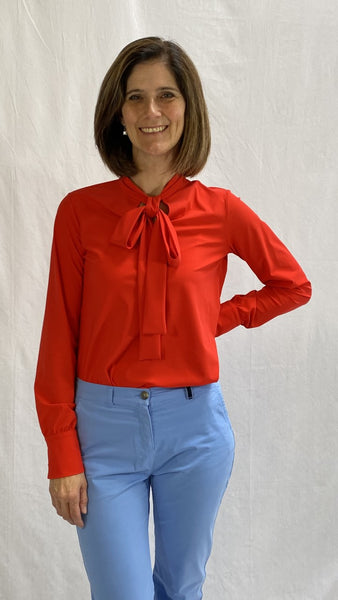 red blouse with bow
