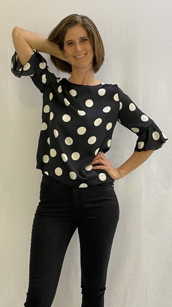 Black satin top with white dots