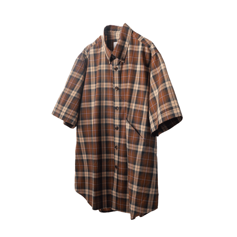 A.D.A.N / STRT CHECK B.D SLASH SHIRT / BROWN
