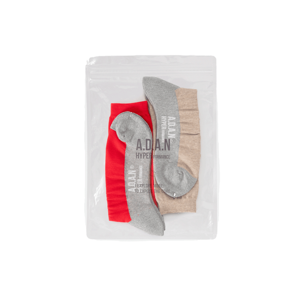 A.D.A.N /  TRACK SOCKS (2PAC SET) / RED BEIGE
