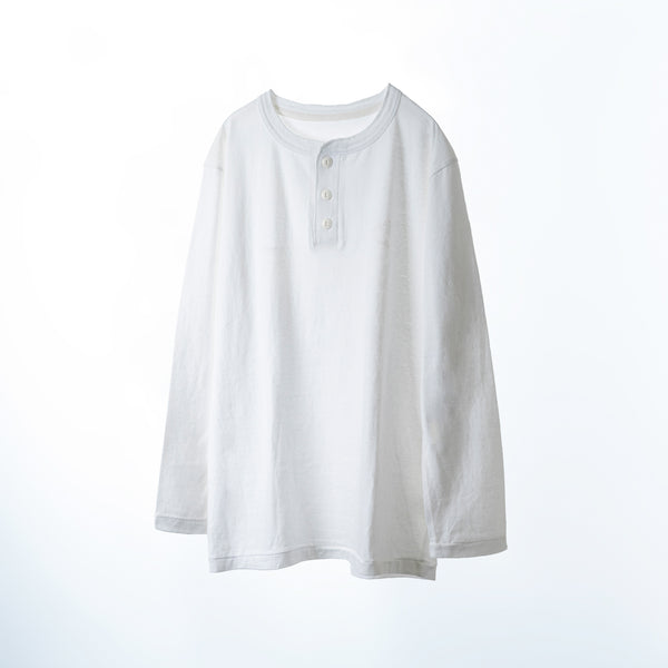 fit / HENLEY NECK L/S T-SHIRTS- / WHITE