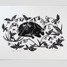 "Load image into Gallery viewer, ""Bluebells and Deer"" hand pulled screen print"