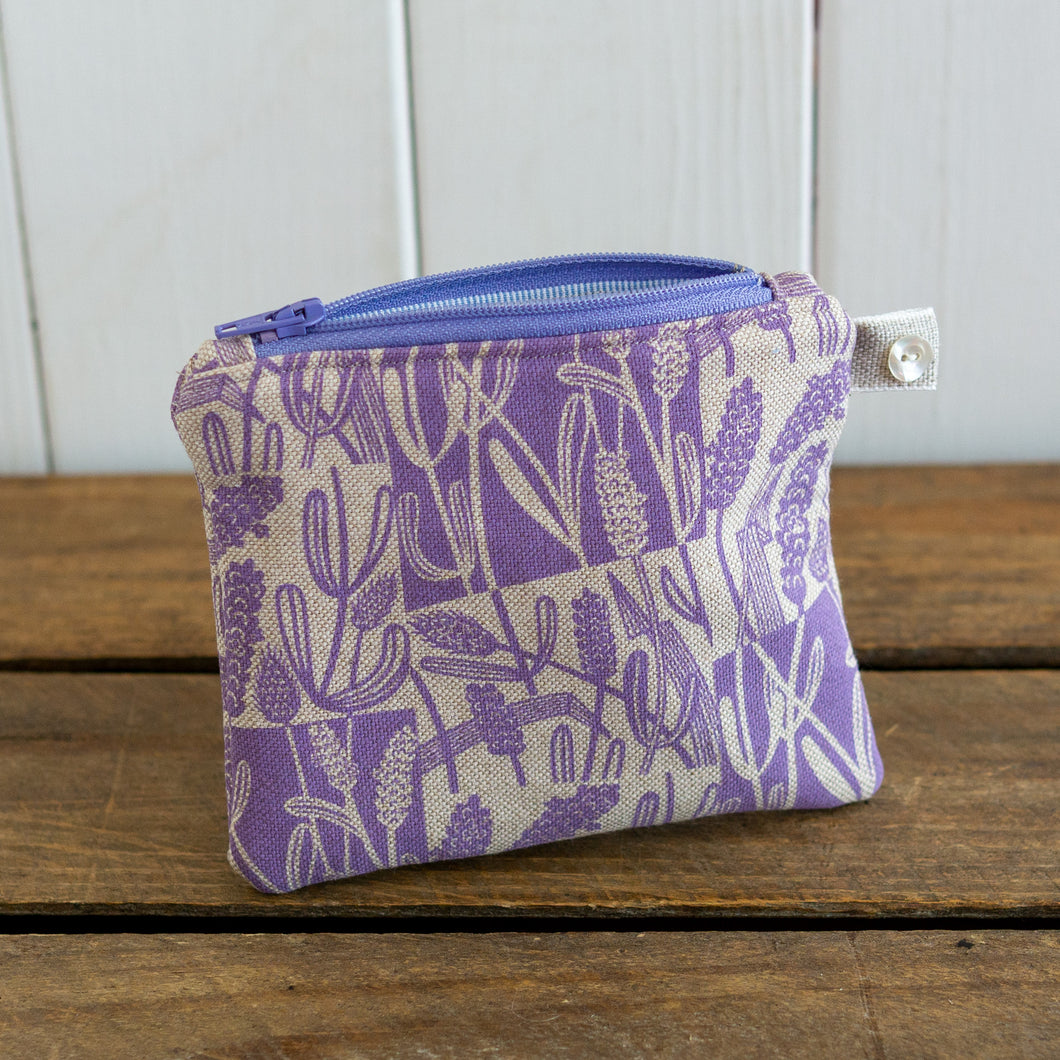 Screen printed small Lavender Purse
