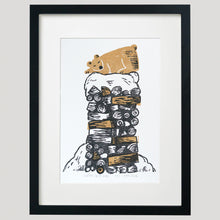 "Load image into Gallery viewer, Winter Drifts ""Bear"" linocut print, framed"