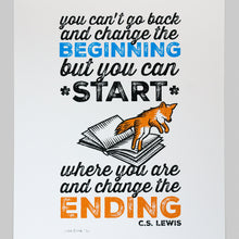 "Load image into Gallery viewer, April Sale 34. ""Change The Ending"" C.S. Lewis quotation screen print"