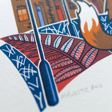 "Load image into Gallery viewer, ""Majestic Fox"" hand pulled screen print"