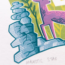 "Load image into Gallery viewer, ""Majestic Stag"" hand pulled screen print"