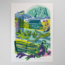 "Load image into Gallery viewer, ""Seaside Garden"" screen print, limited edition"