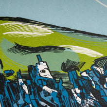 "Load image into Gallery viewer, ""Whitesands Bay"" limited edition screen print, rocks, cliffs, coast"