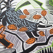 "Load image into Gallery viewer, ""Woodland Badger"" hand pulled screen print"