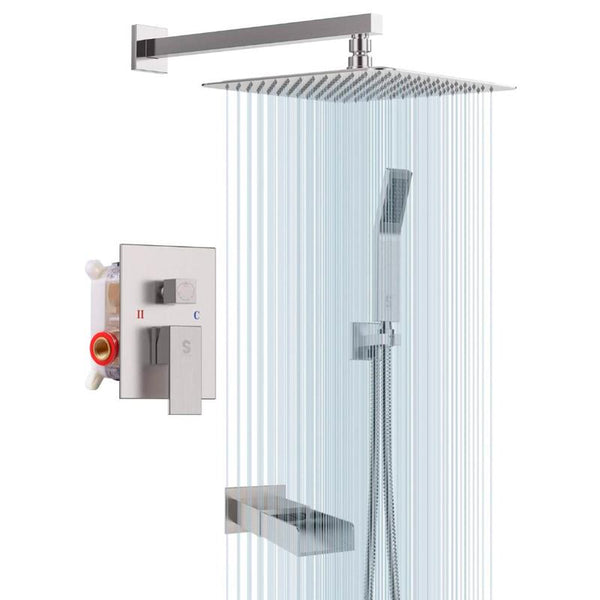 Brushed Nickel Wall-Mounted Rainfall Shower System with Tub Spout from SR Sunrise