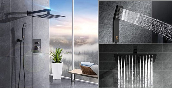 Wall-Mounted Rainfall Shower System in Matte Black from SR Sunrise