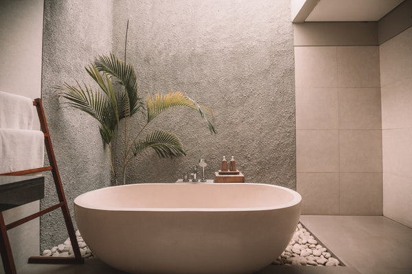 bathtub with pebbles and plants