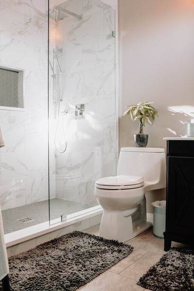 small bathroom with small plant pot on top of toilet