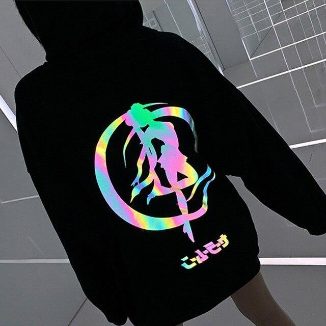 Luminescent Large loose Sailor Moon hoodies for women - Strikemall