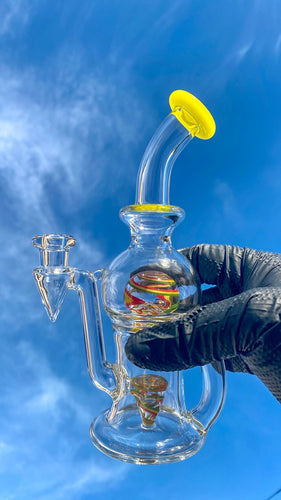 Tube Sock Glass Hustle Brain Bubbler Wig Wag Ball Rig Rasta Colors - TheSmokeyMcPotz Collection