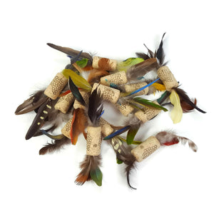 Birdie Cork Toy - Natural Cork and Feather Cat Toy