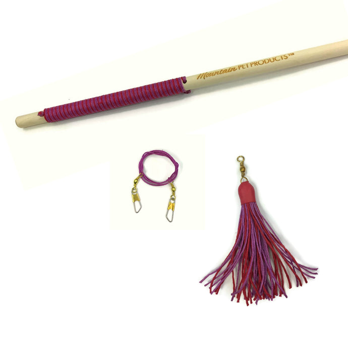 Valentine's Day Tassel Teaser Interactive Wand Toy - Pink & Red